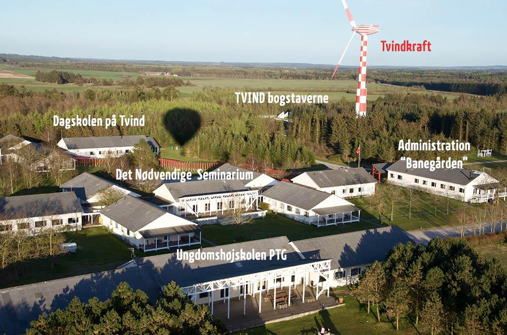 Tvind Internationale Skolecenter fra luften - Tvinds historie begynder her i 1972
